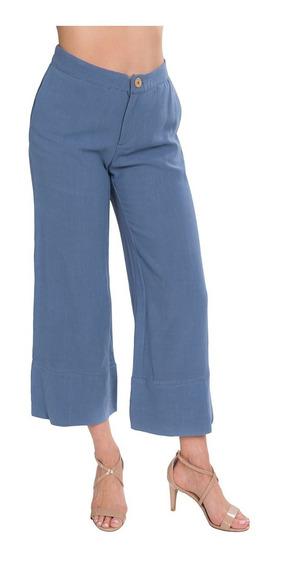 Pantalon Dama Ancho Flojo Liso Lino Azul Moda W91124