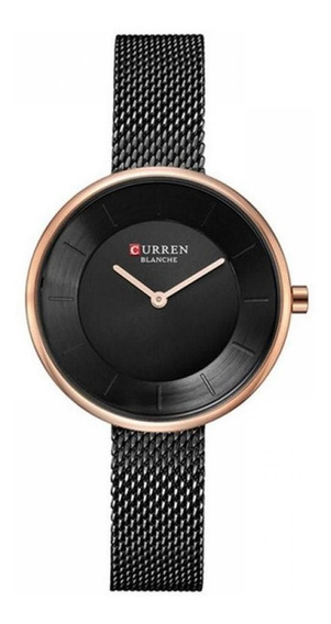 Relógio Feminino - Curren C9030l - Preto - Aço Inóxidável