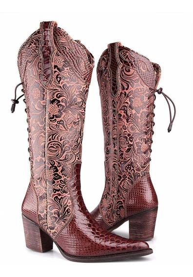 Bota Texana Feminina Anaconda Country Montaria Dhl Boots