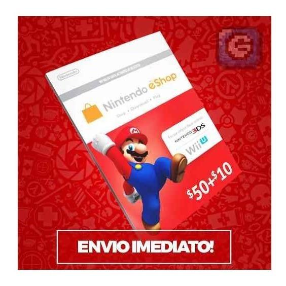 Cartão Nintendo Switch 3ds Wii U Eshop Card $60 Imediato!