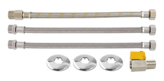 Kit Para Aquecedor A Gás Flexível 30cm X 1/2 +chaminé 80mm