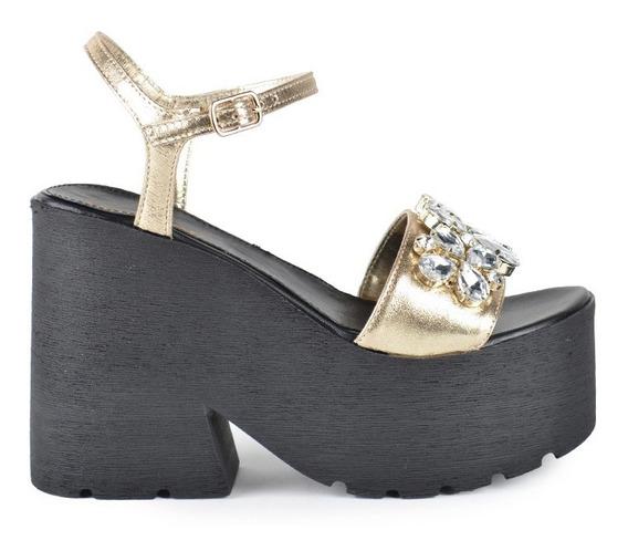 Zapatos De Mujer Zapatillas Sandalias Tulum Oro - Ferraro