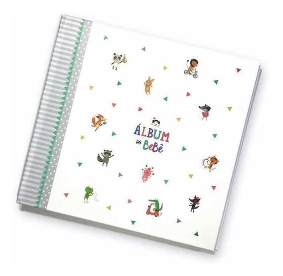 Album Livro Diário Do Bebê Cinza + Bloquinho Rotina Do Bebê