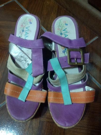 Sandalias Viamo Cuero Tres Colores