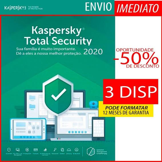 Kaspersky Total Security 2019 3 Pc 1 Ano Envio Imediato