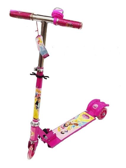 Patinete Infantil Princesas Disney Menina 3 Rodas Com Luzes