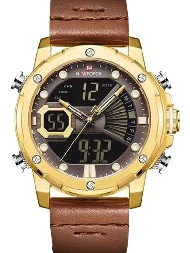 Relógio Masculino Naviforce Esportivo Dourado Barato