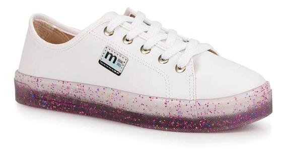 Tênis Solado Transparente Glitter Napa Branco - Lançamento