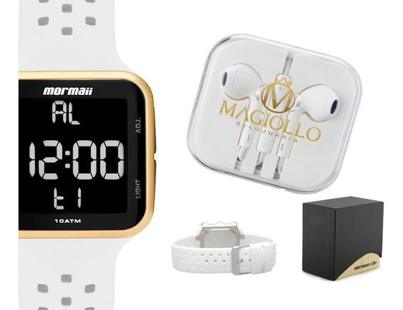 Relógio Digital Branco Quadrado Mormaii Mo6600ad/8b Original