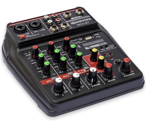 Mesa De Som Compacta Soundvoice Mc4-bt 4 Canais Bluetooth