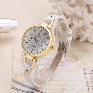 Relógio Feminino Dourado Analógico Pulseira De Couro Branca