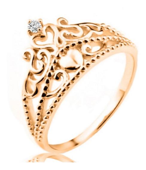 Anel Tiara De Princesa Coroa Ouro 10k Zirconia - Exclusivo