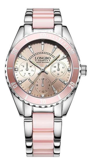 Reloj Mujer Rosa Longbo Acero Elegante Original 80303