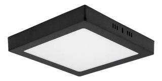 Panel Led 18w Aplicar Cuadrado Negro Calido Frio 1500 Lumens