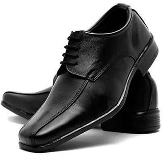 Sapato Social Masculino Couro Amarrar Barato Bico Quadrado