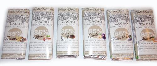 6 U. Chocolate 85%  Cacao Puro Sin Azucar Stevia Keto Vegano