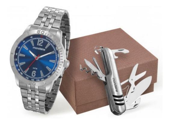 Kit Relogio Masculino Prata Mondaine Fundo Azul Com Canivete