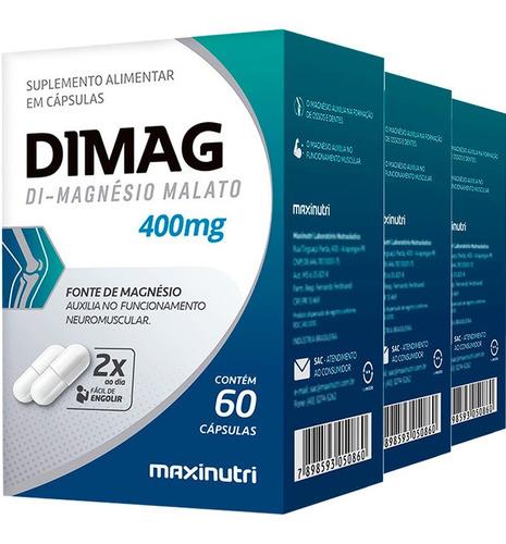 Dimag Magnésio Dimalato Maxinutri 400mg 3x60 - 180 Cápsulas