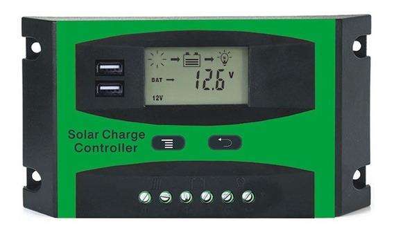 Controlador De Carga Solar 30a Pwm 12v/24v Com Usb