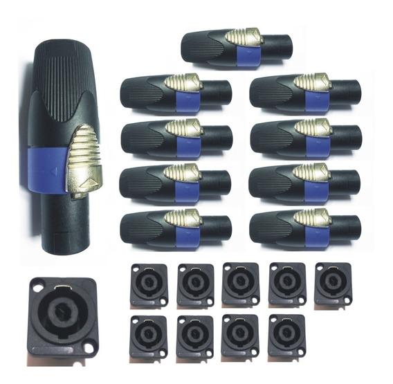 Kit Plug Conector Speakon 10 Macho 10 Fêmea Painel C Trava
