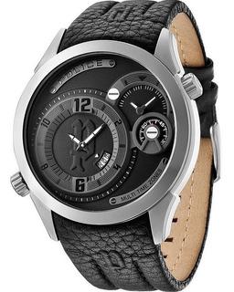 Reloj Police Pl 14195js/02 Hombre Cuero Hora Dual 50mts