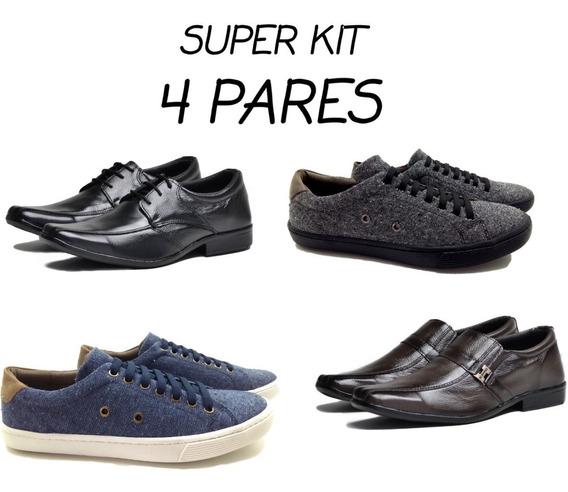 Sapato Social Couro Sapatenis Masculino 4 Par Tenis Casual