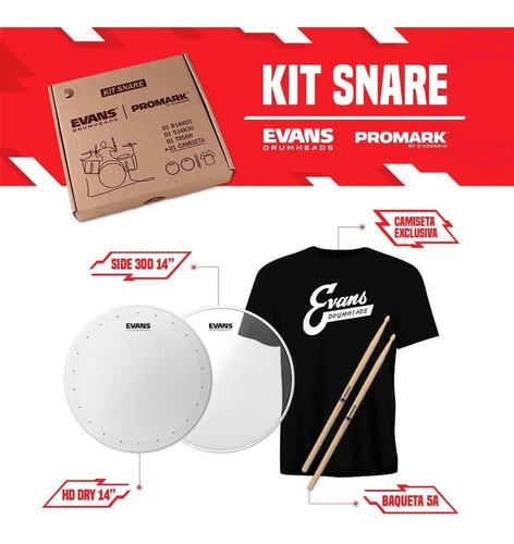 Imagem 1 de 8 de Kit Evans Pele 14 Hd Dry +resposta+ Camiseta + Baqueta Tx5aw