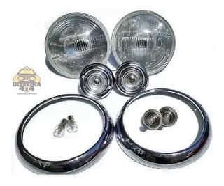 Farol + Aro Willys Rural F75 Com Lâmpada E Lanterna Pisca