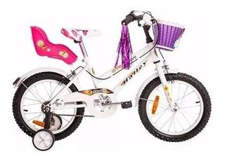 Bicicleta Halley 19060 Cross Rodado 16 Nena Con Rueditas