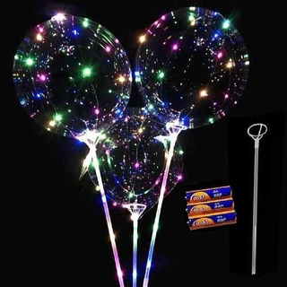 Kit 4 Unidades Balão Led Gigante Festa C Vareta E Pilhas