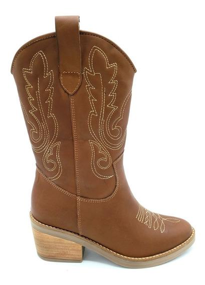 Bota Texana Cuero Vacuno 100% Moda Dama Zapato Goma 884/bl