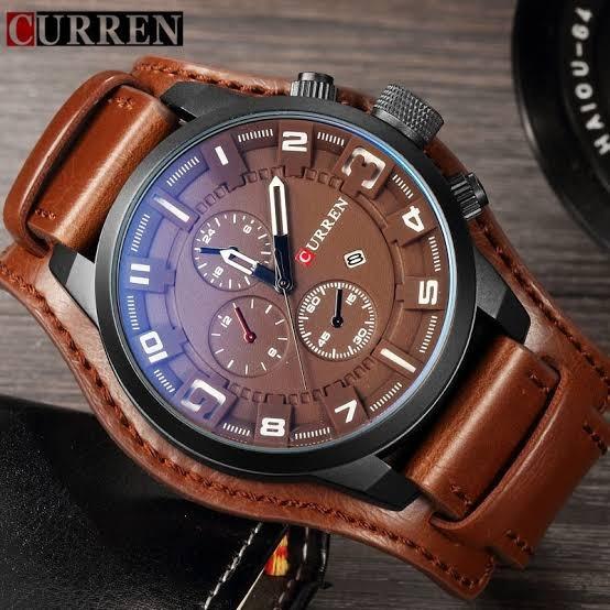 Relógio Luxo Masculino Pulseira Couro À Prova D