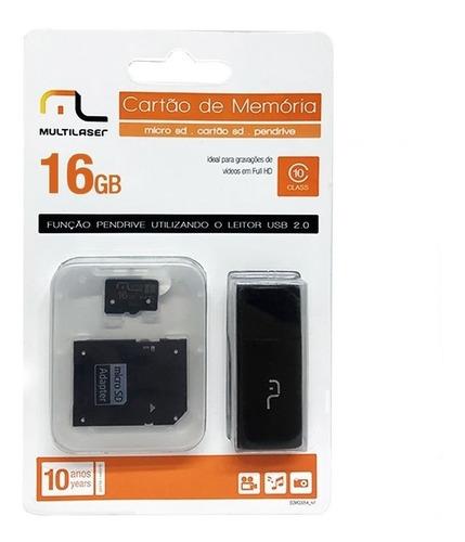 10 Cartões Micro Sd 16gb + Pen Drive + Cartão Sd Kit 3 Em 1