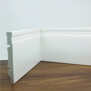 Rodapé De Poliestireno Frisado Branco 12 Cm 26m + 120 Frete
