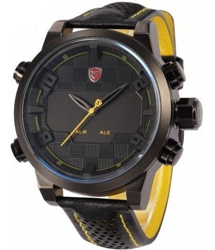Relógio Masculino Shark Anadigi Sh-263 - Preto E Amarelo