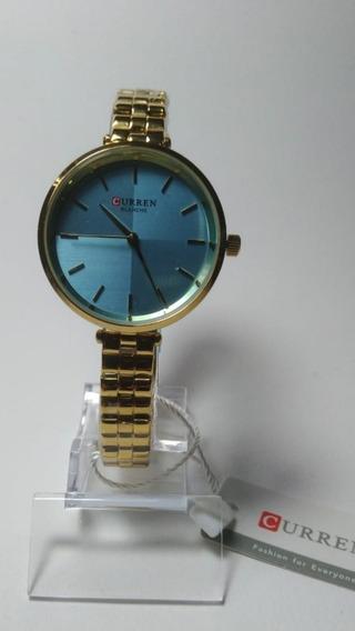 Relógio Feminino Curren Analógico C9043l - Dourado É Azul