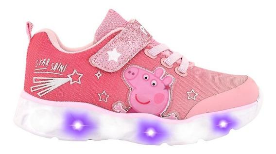 Zapatillas Peppa Pig Estrellitas Rosa Con Luz - Tienda Footy