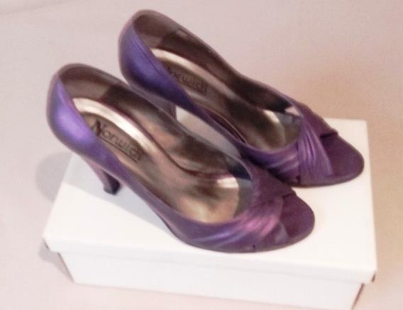Zapatos De Cuero Violeta Nro. 40 - Taco 10 Cm