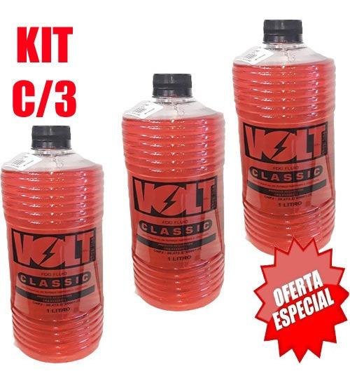 Kit C/3 Fluído Volt Show P/máquinas De Fumaça Classic 1 L