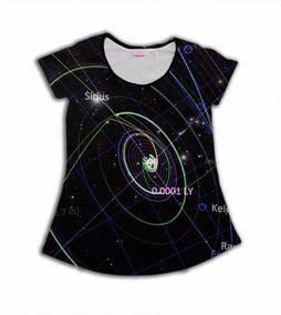 5394696fc Camiseta Babylook Estampa Galáxia Cosmos Estrelas Cool