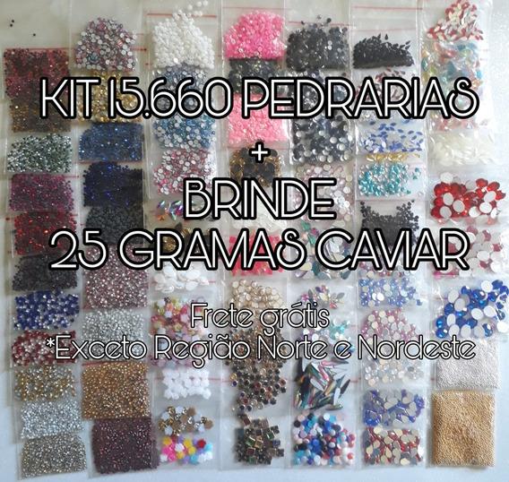 Kit Completo Com 15660 Pedrarias Para Unhas + Brinde Caviar