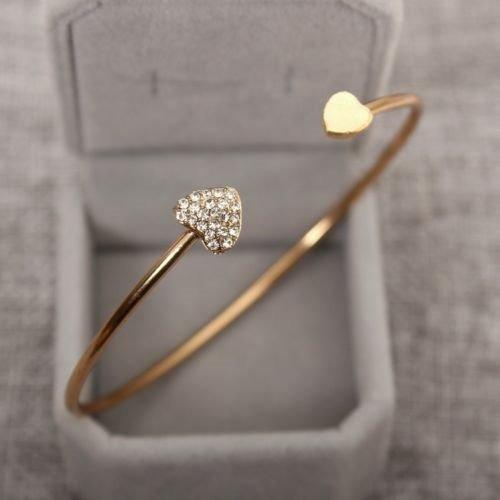 Linda Pulseira Bracelete Dourada Coracao Strass Luxo