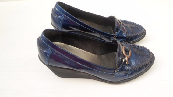 Sapato Verniz Azul Anabela Bottero Usado