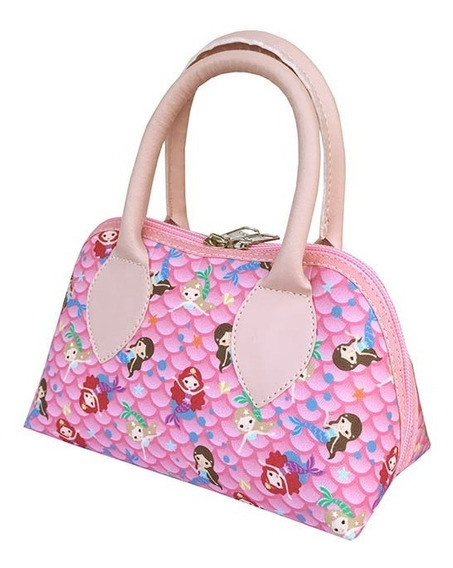 Bolsa Mão Sereia Rosa Escama Estampada Luxo Meninas Infantil