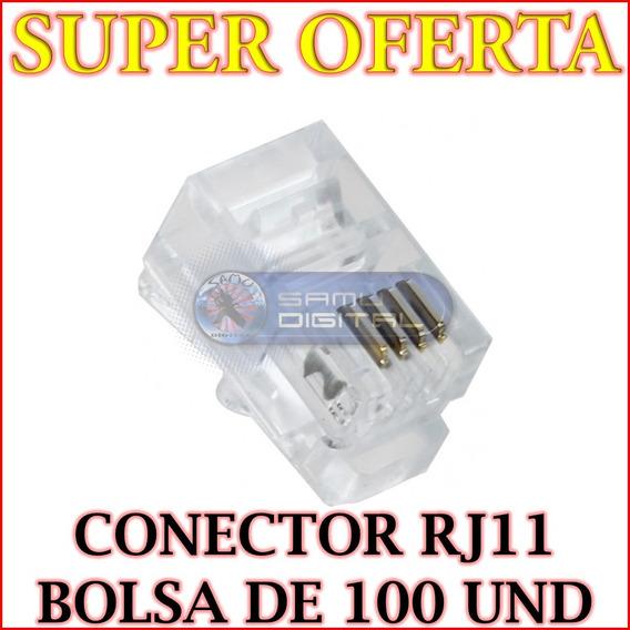 Conectores Telefónicos Rj11 Bolsa De 100 Unidades Oferta!!