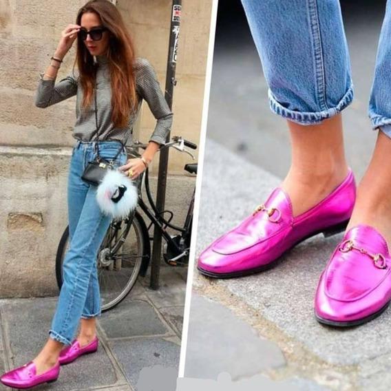Zapatos Tipo Mocasines Negro, Nude Y Rosa Metalizado. Chatas