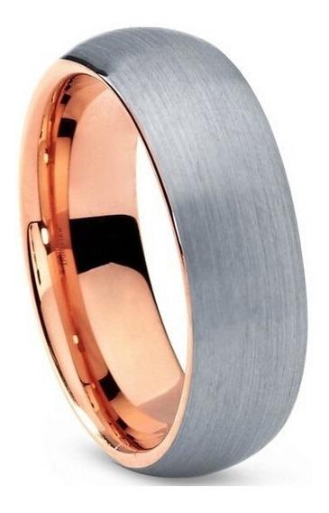 Aliança De Tungstenio Escovada Prata Rose 8mm Tessália