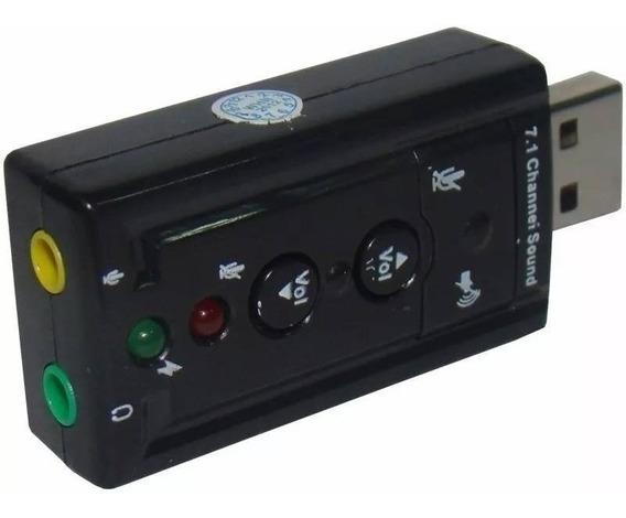 Placa Som Usb Externa 3d Adaptador Audio P2 Pc Notebook T11