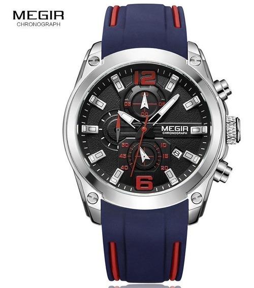 Relógio Megir 2063 Chronograp Preto Esportivo Original