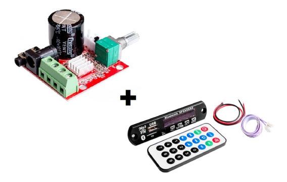 Kit Amplificador 30w Rms + Modulo Bluetooth Usb Caixa Ativa